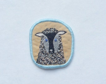 Textile Brooch  with Black Sheep. Hand embroidery unique textile jewelry by makikoart