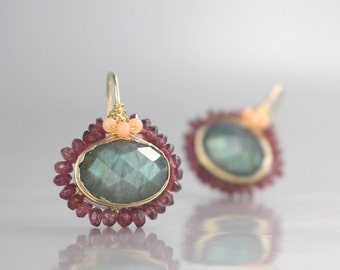Gemstone Earrings, Oval Labradorite Mandala Earrings, Labradorite Earrings, Gold Filled Earrings, Statement Earrings, Women's Gift