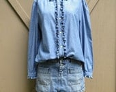 vintage Ralph Lauren Ruffled Cotton Denim Blouse / Denim Prairie Blouse / Lauren Jeans Co.