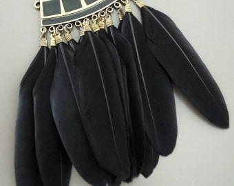 Tribal Feather Pendant - Necklace Component - Statement Feather Pendant - Black Feathers - DIY Necklace - Jewelry Supply