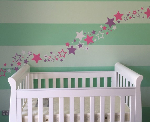 Stars Wall Decals - set of 100 - vinyl wall decals - stars - lots of stars in variety of sizes - baby nursery wall decals - 100 of stars