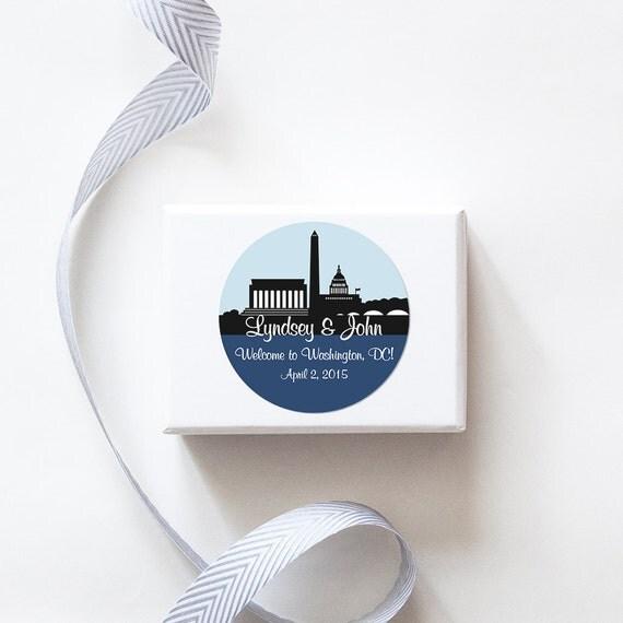 Washington, DC Custom Wedding Welcome Stickers  -  SKYLINE DESIGN