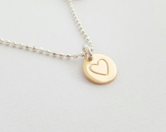 Gold Heart Necklace mixed metal disc necklace hand stamped gift sterling silver mother grandmother necklace