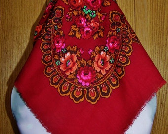 Gypsy Scarf, Floral Scarf, Red floral scarf, NWT, Red Roses Scarf, Head Scarf, Head wrap, New with Tags Scarf