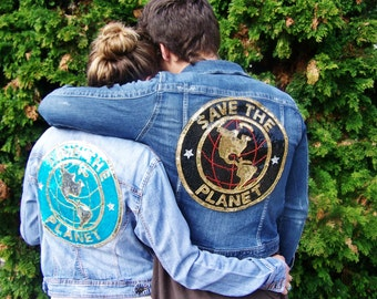 SAVE the PLANET, Denim Jacket, Light Denim Jacket, Up-Cycle, Blue Jeans Jacket, size S / M