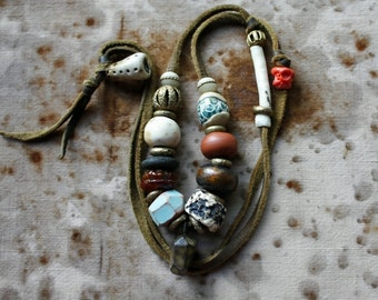 In My Garden Tribal Necklace w/ Lampwork, Porcelain, Stoneware, Antik Greenheart, Ashanti Bronze, Bone, Mala Yakbone, & Buckskin