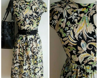 Vintage Black Floral Cap Sleeve Dress, XS
