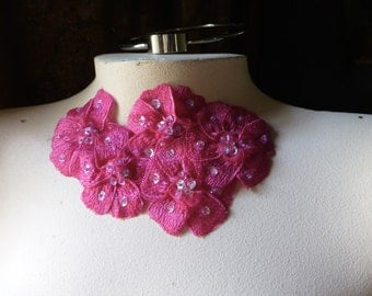 SALE Fuchsia Beaded Lace Applique for Lyrical Dance, Sashes, Headbands, Costumes CA 612
