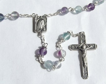 Our Lady of Lourdes Fluorite Bead Handmade Rosary