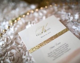 """Gold Glitter Band Design - Tea Length Flat Wedding Menu - 4 x 10"""""""