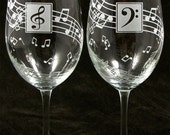 NEW 2 Music Note Wine Glasses, Wedding Gift, Birthday Present for Classical Music Lovers
