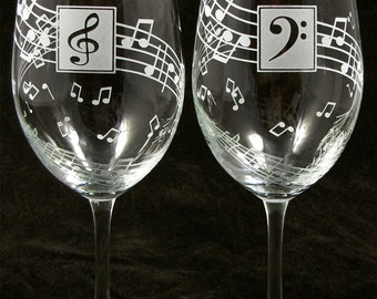 2 Music Note Wine Glasses, Wedding Gift, Birthday Present for Classical Music Lovers