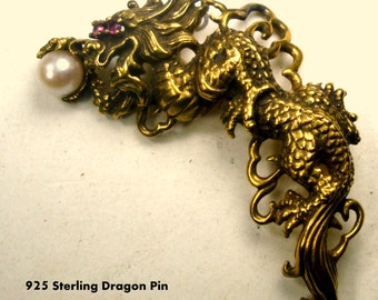 Kai-Yin Lo DRAGON Pin, Gold Plated STERLING Brooch, 1987 for Franklin Mint w Ruby Eyes and Cultured pearl, Pendant loop on Back or Brooch