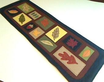 Fall Wool Blended Felt Table Runner | Kitchen Decor | Handmade Gift | Thanksgiving Decor | Leaf Applique Table Mat | #1