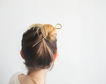 Minimal and Modern Hair Pin. Brass Hair Pick. Stamped and Hammered Brass. Golden Hair Stick. Hair Accessory. Golden Brass. Brass Hair Piece.