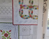 Vintage McCall's 2330 Quilting and Applique Quilt Block Transfers Borders Wedding Ring, Feather, Medallion Iron On Retro Transfers UNCUT