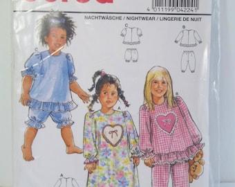 Girl's Pajamas Burda 4224 PJ Pattern, Ruffled Kid Pyjamas Heart Top, Pants Toddler A Line Nightgown, Bloomers Size 18m - 5 UNCUT Destash