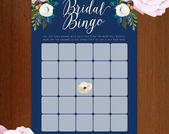 5x7 Bridal Bingo Cards in Blue and White | DIY Bridal Shower Games | Printable | Instant Download Floral Muted Blooms Garden Party