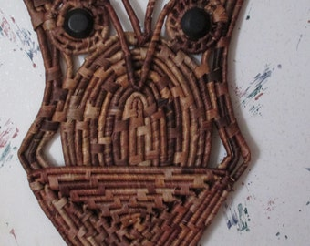 Raffia Wrapped Owl Wall Art--Woven Owl Mail Organizer--Groovy Seventies--Retro Wall Hanging--Bird--Natural Fiber Owl Art
