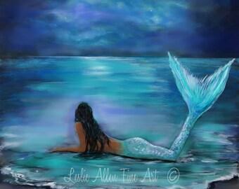 "Mermaid Art Print Mermaid Painting Print Mermaid Wall Art Decor Wall Hanging  ""MERMAID MOON & STARS"" Crescent Moon  "" Leslie Allen Fine Art"