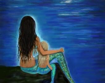 """Mermaid Art Mermaid Art Print Mother Daughter  Sisters Mermaid Theme  Mermaid Decor """"MERMAID & HER DAUGHTER""""  Leslie Allen Fine Art Mermaid"""
