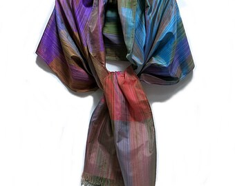 Long Silk Stole Evening Wrap Made in India Vintage 1990s Multicolor Boho