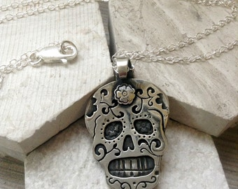 Sugar Skull Necklace in Sterling Silver or Copper or Bronze Dia De Los Muertos Necklace