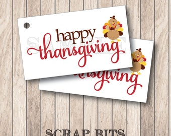 10 Turkey Happy Thanksgiving Tags, Thanksgiving Turkey Tags, Thanksgiving Favor Tags . 2 x 3.5 inches