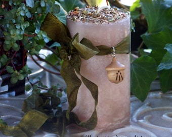 "AWEN ""Druid Power""™ Old European ""Celtic Lights""™ Pillar Candle w/ Hand Carved Wood Awen Acorn - Creativity, Magical Mastery, Authority"
