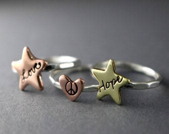 Star Stack Ring, Custom Ring, Sterling Silver, Hope Love Peace Ring, Minimalist Ring, Stack Ring, Gift, Choice of 1, Star Ring, Heart Ring
