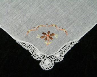 Vintage Hand Embroidered Lace Trim Fall Floral Wedding Handkerchief, Hankie, Hanky, 9766