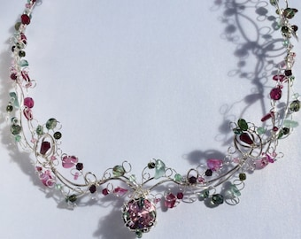 Pink and Green Garland Necklace and Earrings Set