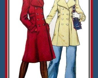 Vintage 1973-SUPER MOD GIRL-Hoodie Coat-Sewing Pattern-Two Styles-Double Breasted-Princess Seams-Tailored-Lined-Buttons-Uncut-Size 14-Rare