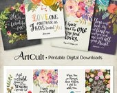 "Printable download BIBLE VERSES TAGS No.2 Scripture Art 2.5""x3.5"" size hang tags digital collage sheet greeting cards ArtCult designs"