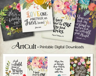 """Printable download BIBLE VERSES TAGS No.2 Scripture Art 2.5""""x3.5"""" size hang tags digital collage sheet greeting cards ArtCult designs"""
