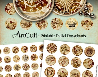 1 inch (25mm) and 1.5 inch size ANTICO CIRCLES printable round images Digital Collage Sheet for pendants magnets bezel settings by ArtCult