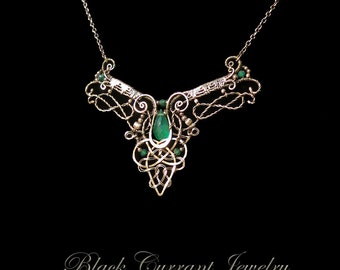 Celtic Necklace - Green Onyx and Sterling Silver, Wirewrapped