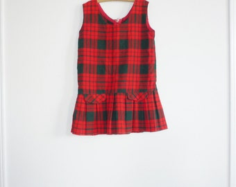 Vintage Red and Green Plaid Dress