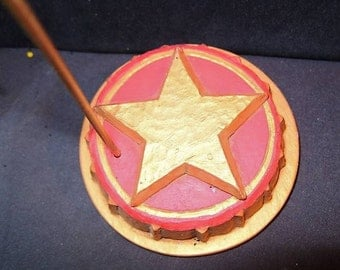 Christmas Ornament Stand Holder Red Star Carved Display Stand Holder Pam Schifferl RETIRED Patriotic Santa