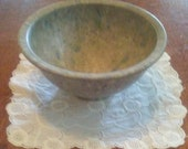 Vintage Texas Ware Small 111 Bowl in Speckled Gray with Turquoise