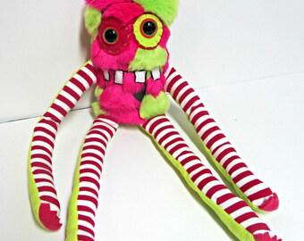 Monster Plush - Handemade Plush Monster - Neon Green Neon Pink Faux Fur - Mini Monster Toy - OOAK Stuffed Monster - Handmade Softie Toy