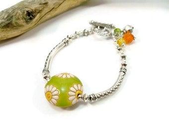 Spring Flower Bracelet, Golem Flower Bead, Spring Color Bracelet, Ceramic Beaded Bracelet, Women's Bracelet, Handmade Jewelry