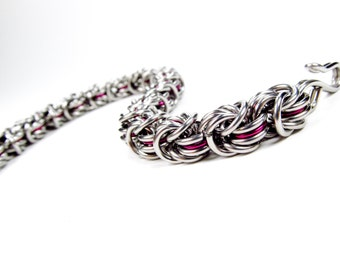 Purple - Chainmaille Bracelet - Rosetta Pattern