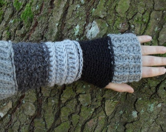 Gypsy gauntlets Handmade Hemp Wool Grey and Black arm warmers wool sleeves Ready to Ship