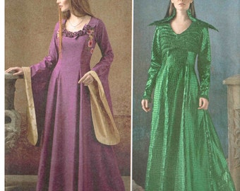 Fantasy Costume Dress Sewing Pattern like Game of Thrones with Bell Sleeves Simplicity 1137  Size 14 16 18 20 22 Bust 36 38 40