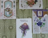 Birthday Wishes in Beautful Antique Postcards Flowers Pen and Quill Pansies Embossed Gold Accents