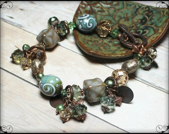 Sagebrush... Handmade Jewelry Bracelet Beaded Moss Olive Green Topaz Antique Copper Crystal Ceramic Glass Beads Boho Earthy Cha Cha Dangles
