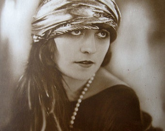 RESERVED for Beckie - Antique silent movie star photo postcard, Pola Negri, Actress RPPC - please do not buy unless  you're BECKIE