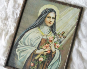Antique picture frame, Antique Saint Therese picture frame, Antique saint picture frame, Antique glass frame, Antique religious frame