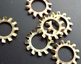 Hardware, external star, lock washers, bag of 50, look like small gears, jewelry, steampunk, industrial found art
